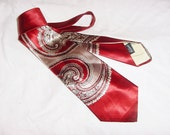 Vintage 40s Mens Neck Tie Slick Acetate Red Paisley Haband