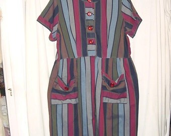 Vintage 50s Stripe  Short Sleeve Day Dress XL Blue Green Red