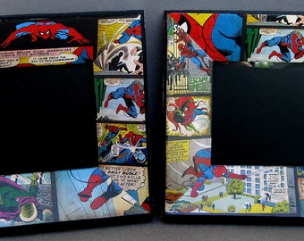 Upcycled Superhero Comic Dimensional Picture Frames