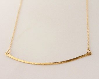 Gold Curved Long Hammered Bar Necklace