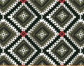 Windham Wild Field Diamonds Green Red - Cotton Quilting Fabric  - fat 1/4 remnant