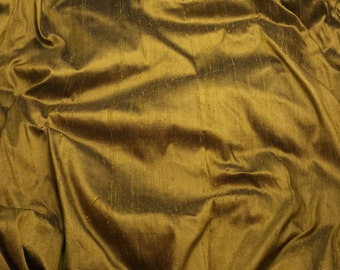 BRONZE BLACK Silk DUPIONI Fabric - 1 Yard