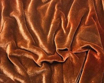 Dusty Orange HAND DYED Silk Velvet Fabric fat 1/4