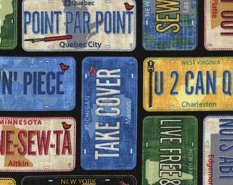 Row by Row 2016 License Plates Cotton Fabric Timeless Treasures 1 Yard