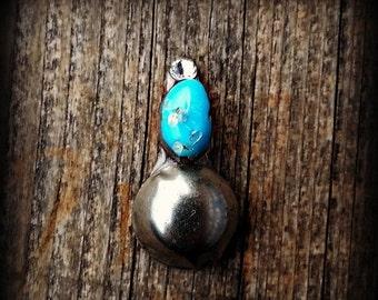 OCTOBER SALE Genuine Turquoise Bindi - Silver Dome