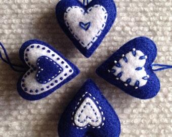 Christmas heart ornaments Blue and White felt hearts Set of four