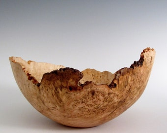 Cherry Burl Wood Bowl - Natural Edge Cherry Burl Hand Turned Wood Bowl - Wooden Cherry Lathe Turned Bowl - Gifts for Him - Gifts for Her