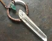 Healing Crystal Necklace Raw Quartz Statement Necklace Wire Wrap Crystal Pendant Necklace DanielleroseBean Chakra Crystal Pendant