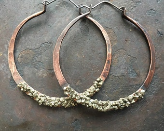 Copper Hoop Earrings Pyrite Earrings Large Hoops Big Hoop Earrings Gypsy Jewelry Daniellerosebean