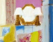 ORIGINAL OIL PAINTING,  Painting of Room, Pagoda Lamp, Furniture, Pink Interior, Abstract Painting, Modern, Watercolor Paper, Ginger Jar
