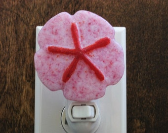 Sand Dollar Night Light, Pink Nightlight, Casted Fused Glass Sand-Dollar Nightlight , Red Night Light, Seashell Nightlight, Sea Nightlight,