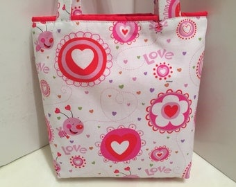 Valentine's Day, Fabric Gift Tote Bag, Gift Wrap, Wrapping Paper, Sweetheart, Love Gift Bag, Tote for Sweets, Flowers, Hearts, Bees