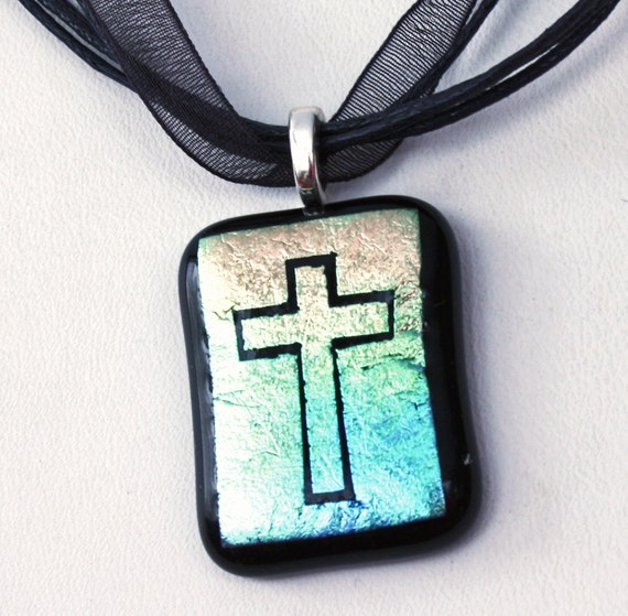 Cross Pendant Necklace, Etched Dichroic Fused Glass, Handmade in USA, Religious Gift, Christian Cross