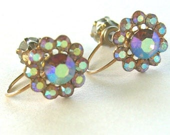 Clip on pinch vintage irridescent blue rhinestone earrings