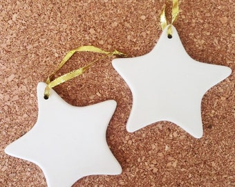 6 STARS Porcelain Ornaments 4.25 Inches Blank Patriotic Christmas Decor Party Favors DIY Keepsakes