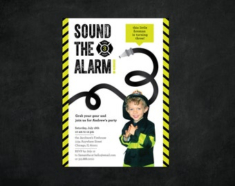 Digital / Printable  / Firefighter 3rd Birthday Party Invitation / Sound the Alarm