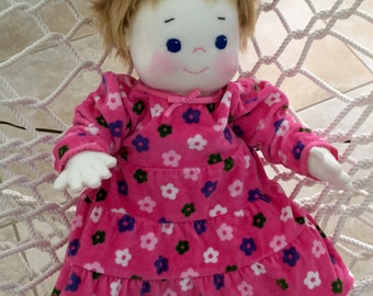Soft Sculpture Doll, Handmade, 21 inches tall, Wears Real Baby Clothes