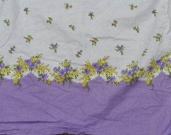 Vintage Lot/Set of 2 Purple Border with Purple and Yellow Flowers with Green Leaves Feed Sacks Pillowcase Pillow case - feedsacks feed sacks