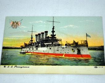 U.S.S. Pennsylvania Antique Postcard - Illustrated Post Card Company