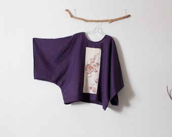 over size eggplant linen top with vintage kimono panel ready to wear