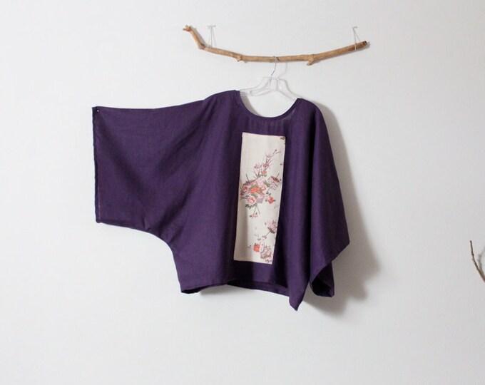 oversized eggplant linen top with vintage kimono panel ready to wear / purple linen kimono / plus size kimono / wearable art /
