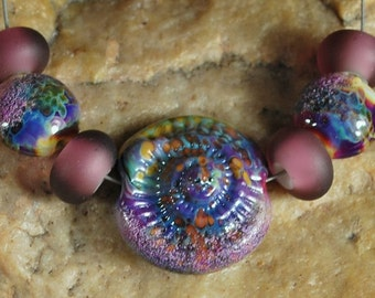 Glass Lampwork Beads, Ammonite Beads, Terra Glass SRA #927 by CC Design