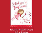 Fairy Girl Valentine Card, Printable Card, Kids Valentine Cards, Valentine for Girls