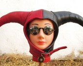 RESERVED for MICHELLEPREBICH/ Leather Harley Quinn Aviator Jester Hat