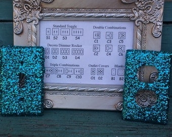 Custom Switchplate Turquoise Glitter