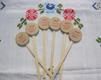 Wooden Drink Stirrers Personalized for Wedding Coffee Stirrer Meet Greet Repeat - Set of 25 - Item 1696