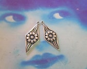 Sterling Silver Ox Plated Brass Floral Drops 653SOX  x2