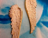 Gold Plated Frosted White Patina Wing Stampings with or without holes 927WHT x2