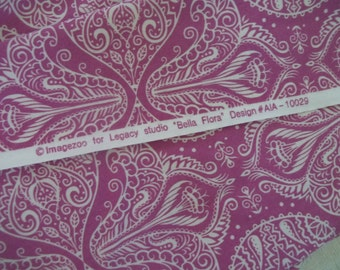 Legacy Studio Quilt Fabric ~ Belle Flora Orchid Pink Paisley Fabric ~ Boho Fabric ~ 1 1/3 Yards