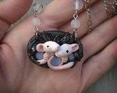 Ratty Love Sculpted Necklace Polymer Clay Jewelry Animals Rat Mouse Glass Moonstone Opal Opalite Leaves Nature Night Rodent Valentines Goth
