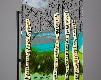 Fused Glass Decorative Panel - BluDragonfly SRA - Aspen Grove