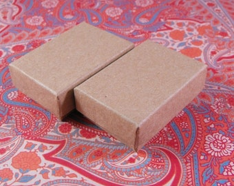 Valentines Day Sale 20 Pack Kraft Cotton Filled Jewelry Presentation Boxes 1.85X1.25X5/8 Inch Size Itty Bitty Boxes