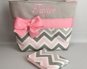 Gray ...  Zoom  CHEVRON  ... Child Size  Bag and Coin Pouch ..  GiRL  Purse  ...  Monogrammed  FReE