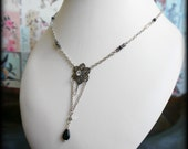 SALE!!!  flower necklace, flower charm necklace in silver, grey, black & clear colours
