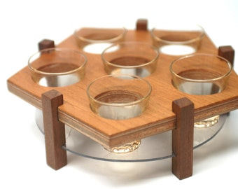 Set of 6 shot glasses with mid century modern wood tray - schnapps liqueur - Made in France