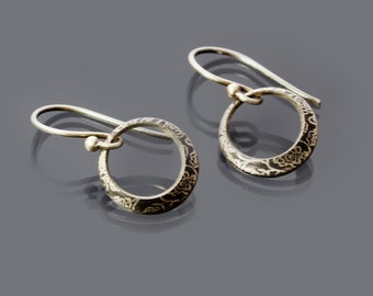 Small Sterling Silver Rose Garden Loop Earrings