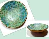 Mint Green Ring Dish- polymer clay Bowl- Jewelry Holder- Wedding Ring Holder- Personalized Gift- Custom Ring Dish