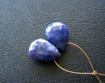 Blue Sapphire Faceted Drops - Pair - 8x11mm