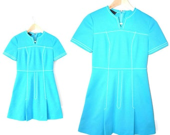 1960s vintage dress 60s MOD mini dress TURQUOISE 1960s retro vintage TWIGGY dress