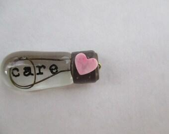 Edison Light Bulb CARE Art Charm with Gemstone Pink Heart