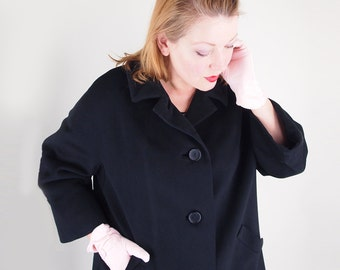 60s Black Wool Melton Coat Winter Weight and High Quality XL