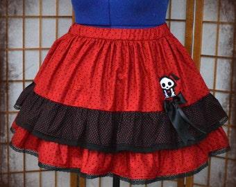 Gothic lolita polkadot skeleton  skirt