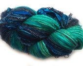 Scraplet Skeins unique multi-textured hand-tied art yarn in Blue Christmas, blues/teals- 120 yds.