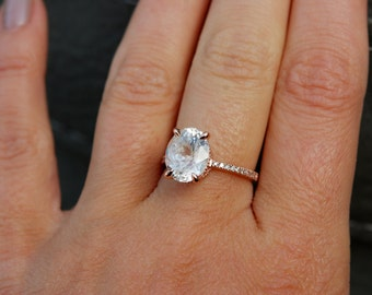 4.12ct White Sapphire Ring, White Sapphire Engagement Ring, White Sapphire Ring, Oval Cut Engagement Ring, 14k Rose Gold