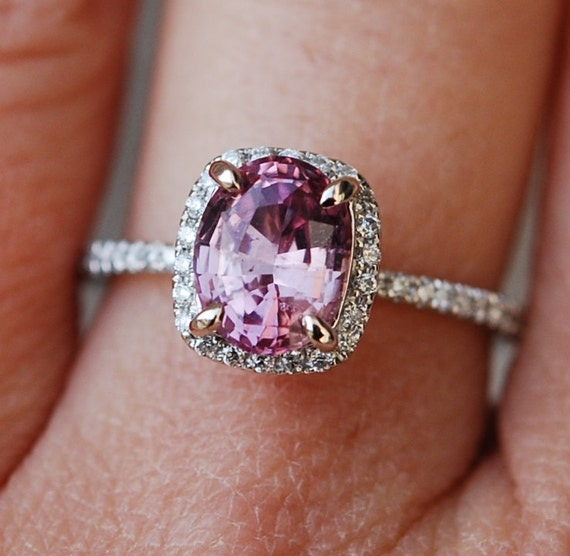 1.7ct Peach Pink cushion cut Sapphire diamond ring 14k white gold - engagement ring