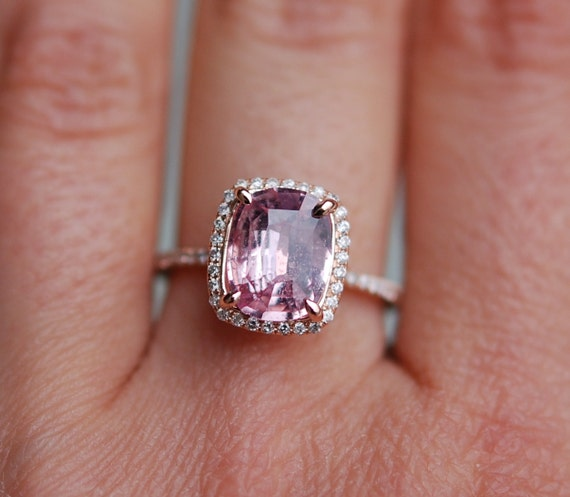 Rose gold engagement ring sapphire ring 2.42ct cushion sapphire 14k rose gold diamond ring